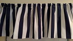Navy Blue and white stripes canopy curtain valance window tr