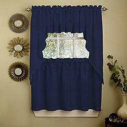 Navy Solid Opaque Ribcord Kitchen Curtains - Choice of Tiers