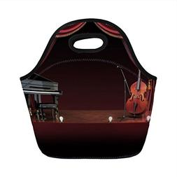 Neoprene Lunch Bag,Musical Theatre Home Decor,Orchestra Symp