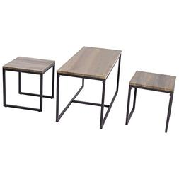Giantex 3 Piece Nesting Coffee & End Table Set Wood Modern L