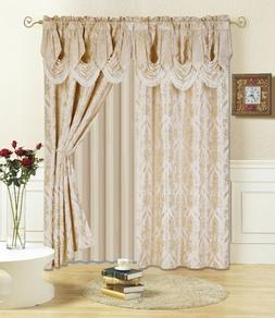 All American Collection New 4 Piece Drape Set with Attached