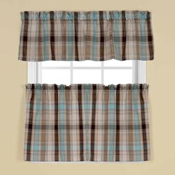 Saturday Knight Cooper Blue Plaid Tier Curtains or Valance -