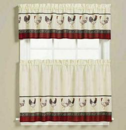NEW -Saturday Knight French Country Rooster Kitchen Curtain