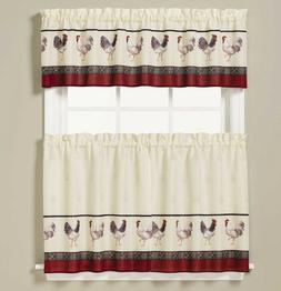 NEW - Saturday Knight French Country Rooster Kitchen Curtain