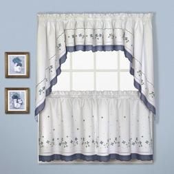 NEW - United Curtain Gingham Blue Check Floral Kitchen Curta