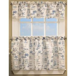 Lorraine Home Fashions By the Sea Nautical Kitchen Curtain T