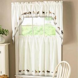 NEW Lodge Embroidered Wildlife Kitchen Curtain - Tier Pairs,