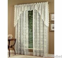 NEW Lorraine Home Fashions Hopewell Lace Curtains - Ivory Cr
