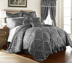 New Luxurious Silky Grey Oversized Paisley 9 pcs Comforter S