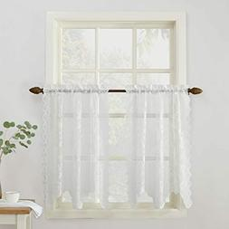 NEW No. 918 Alison Floral Lace Sheer Kitchen Curtain Tier Pa