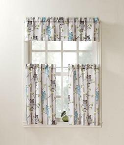 NEW No. 918 Hoot Owl Print Kitchen Curtain Tier Pair 56 x 24
