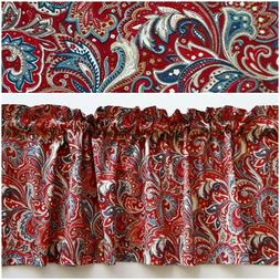 New Handmade Paisley Red & Blue Valance Curtain, Cotton Fabr