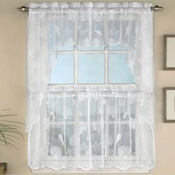 NEW - Reef White Lace Tailored Kitchen Curtain