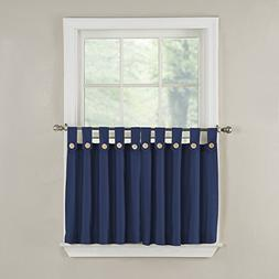 GPD Newport 60-inch x 36 inch Button Tab Top Tier Curtain Pa