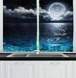 Ambesonne Night Sky Kitchen Curtains by, Full Moon and Foggy