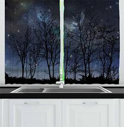 Ambesonne Night Sky Kitchen Curtains, Deep Spooky Forest Bra
