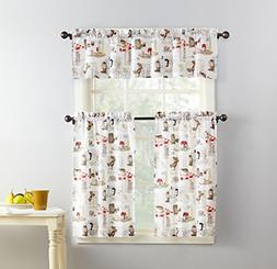 No. 918 Brew Coffee Print Microfiber 3-Piece Kitchen Curtain