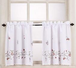 *No. 918 Charlene Kitchen Window Tier Set 56X36 White Multi