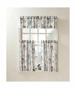 "No. 918 Hoot Owl Print Kitchen Curtain Valance, 56"" x 14"", M"