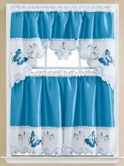 Noor Butterfly Embroidered Kitchen Curtain Set, Blue, Tier 3