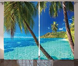 Ambesonne Ocean Curtains by, Image of a Tropical Island with