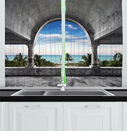 Ambesonne Ocean Decor Kitchen Curtains, Beach and Palm Tree