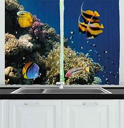 Ambesonne Ocean Kitchen Curtains, Underwater Life Hard Coral