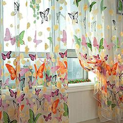 haoun 2pcs Butterfly Window Panels Drapes Curtains Sheer Voi