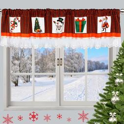 OHEART Christmas Window <font><b>Curtain</b></font> Lace Val