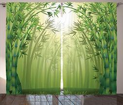 Olive Green Curtains Bamboo Decor By Ambesonne, Illustration