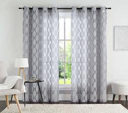 """One  Silver Gray Jacquard Grommet Window Curtain Panel: 54"""""""