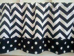 One Black and White Chevron Valance Curtain with Polka Dot T