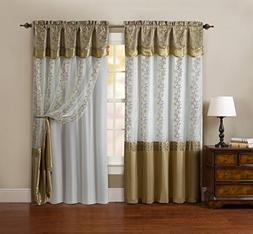 One Piece Window Curtain Drapery Sheer Panel: Attached Backi