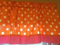 Orange Pink White Polka Dot Trim Kitchen Bathroom Window Val