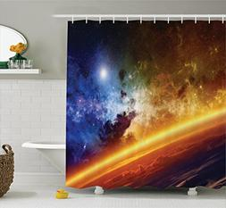 Outer Space Decor Shower Curtain by Ambesonne, Colorful Plan