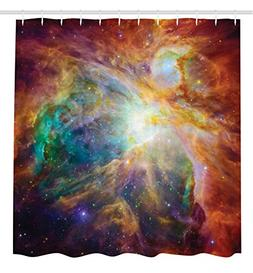 Outer Space Decor Shower Curtain by Ambesonne, Universe Abst