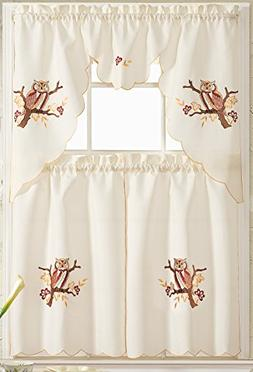 Owl 3 Piece Embroidered Kitchen Curtain Set  36""