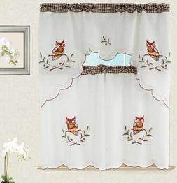 Owl Kitchen Curtain with Swag and Tier Set 36 in Checker des