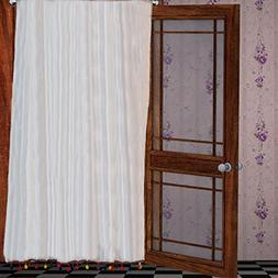 Pair of Colorful PomPom White window sheer chiffon Curtains