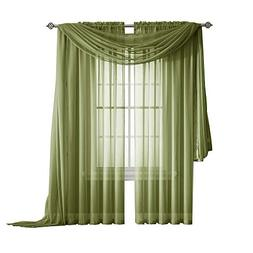 Warm Home Designs Pair of Standard Length Sage Green Sheer W