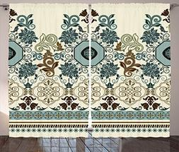 Paisley Decor Curtains by Ambesonne, Floral Pattern in Royal