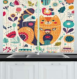 Ambesonne Paisley Decor Kitchen Curtains, Little Smiling Chu