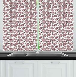 "Paisley Kitchen Curtains 2 Panel Set Window Drapes 55"" X 39"""