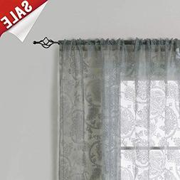 Paisley Scroll Grey Sheer Curtains Living Room Darpes Medall