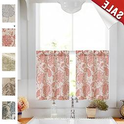 Paisley Scroll Printed Linen Curtains Tiers - Medallion Desi