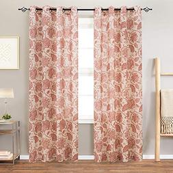 Paisley Scroll Printed Linen Curtains, Grommet Top - Medalli