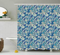 Paisley Shower Curtain by Ambesonne, Authentic Asian Inspire