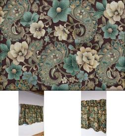 Paisley Valance Brown Teal Gold Glitter