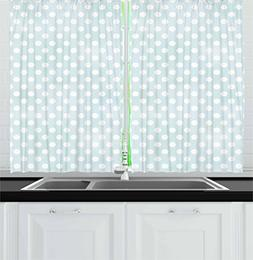 Ambesonne Pale Blue Kitchen Curtains, Retro Style Polka Dots