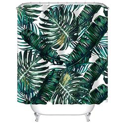 Uphome Palm Leaves Bathroom Shower Curtains, Customized Heav
